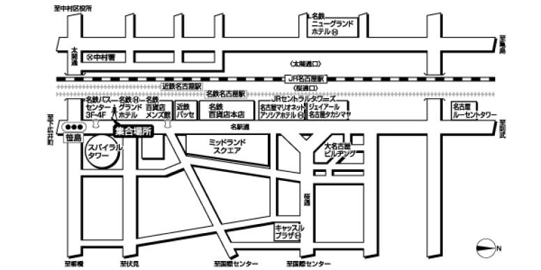名鉄バスセンター4階<br> (ドラゴンズパック用)広域地図