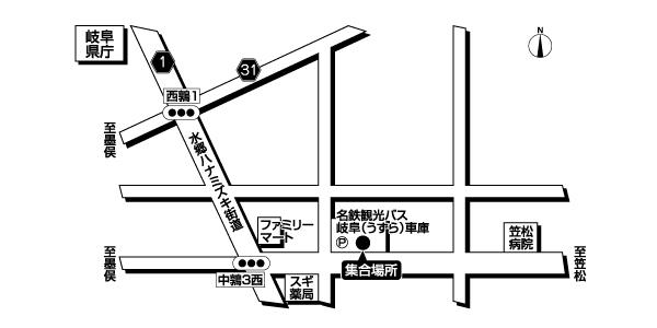 岐阜うずら車庫<br>(名鉄観光バス)広域地図