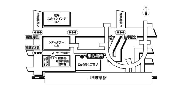 JR岐阜駅北口<br>じゅうろくプラザ前広域地図