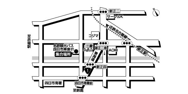 四日市車庫<br>(名鉄観光バス)広域地図