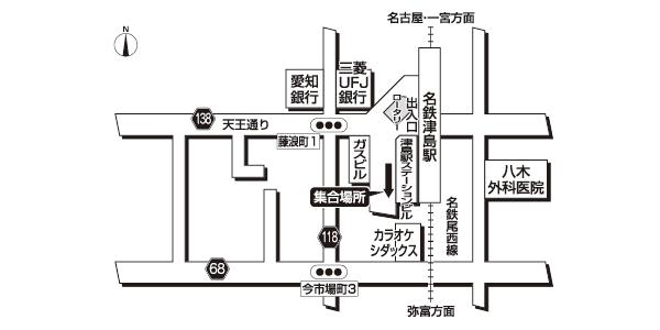 名鉄津島駅<br>バスターミナル広域地図